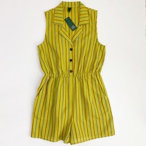 Wild Fable Lime Green Sleeveless Collared Romper M